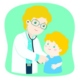 kid on medical check up with male pediatrician doctor. Vector illustration in a flat style.