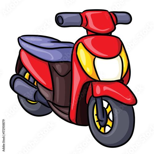 Motorcycle Cartoon Illustration of cute cartoon motorcycle.