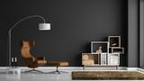 Modernes Wohnzimmer mit dunkelgrauer Wand - 172942838