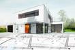 Leinwandbild Motiv Dessin d'une maison d'architecte avec plan