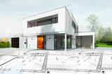 Dessin d'une maison d'architecte avec plan - 172946013