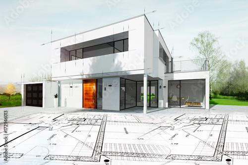 Rysunek domu architekta z planem