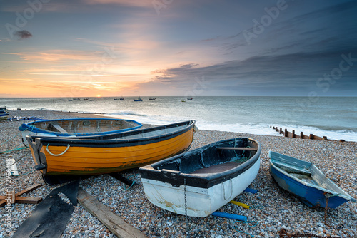 Foto op Canvas Zee zonsondergang Fishing Boats at Selsey