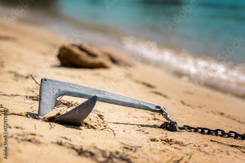 Foto op Canvas Zanzibar anchore from touristic boats on sandy beach