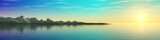panorama of the sea sunset, the sun above the ocean, the mountains above the water, 3d rendering  - 172973438