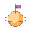 space universe saturn with flag colonization vector illustration - 172980046