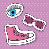 pink sport boot sunglasses and eye fantasy elements vector illustration