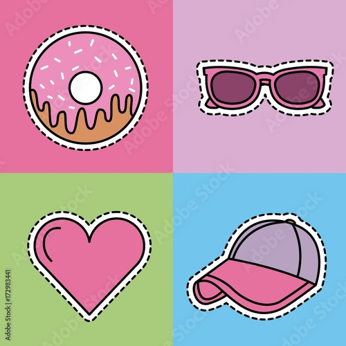 kawaii set icons fantasy decoration stickers vector illustration - 172983441