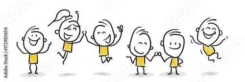 Strichfiguren / Strichmännchen: Jubel, freuen, Teamwork. (Nr. 80)