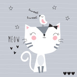 Fototapety cute cat with bird vector illustration