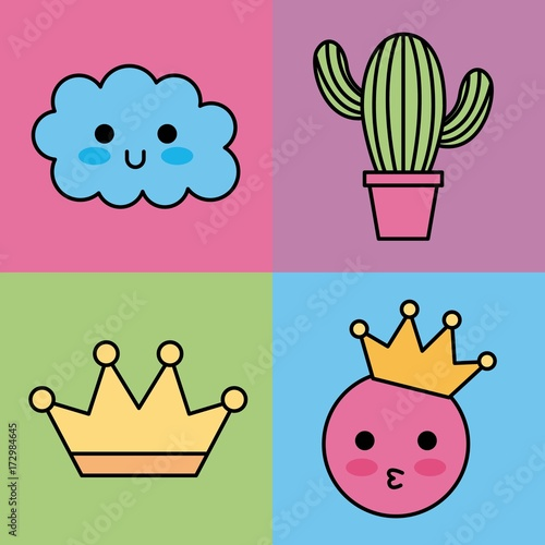kawaii set icons fantasy decoration stickers vector illustration - 172984645
