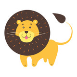 Cute Lion Cartoon Flat Vector Sticker or Icon - 172988000