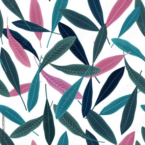 Fotobehang Plumeria Tropical pattern with plumeria leaves. Summer print.