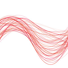 Dynamic abstract wave line background - illustration from red curved stripes