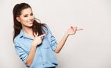 beautiful joyful girl in denim styling on solid background - 173002626
