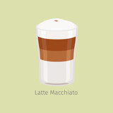 Glass Cup of Layered Latte Macchiato Flat Vector
