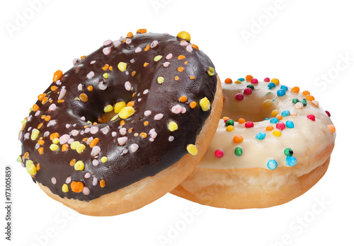 Donut with colorful sprinkles isolated on white background. Poster