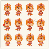 Collection emoticons of isolated girls pussy cat in cartoon style. Set of charming little pussycat girl in various poses.