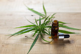 Medicinal cannabis with extract oil in a bottle - 173022051