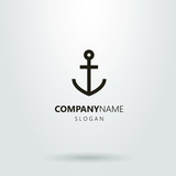 Black and white logo with an anchor