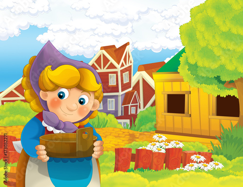 cartoon scene with happy woman working on the farm - standing and smiling / illustration for children - 173032271