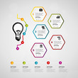 Idea timeline infographics design with financial icons. Five steps or options concept.