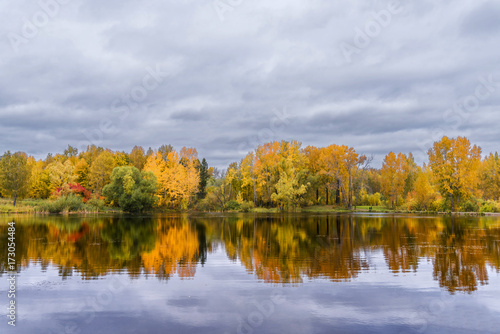 The lake, reflecting the cloudy sky and autumnal foliage trees © dobrydnev