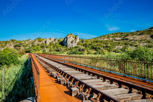 Fotobehang Bruggen Le pont du chemin de fer au dessus de l'Agly