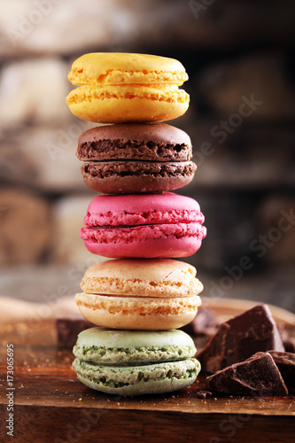 Fotobehang Macarons Close up colorful macarons dessert with vintage pastel tones