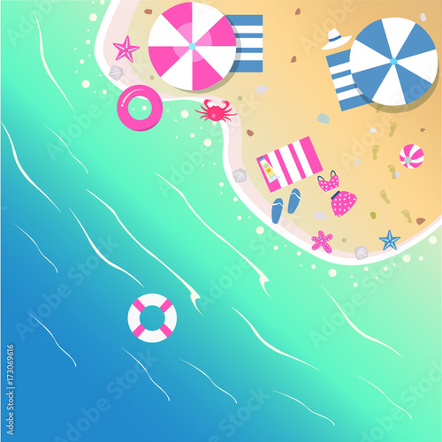 Spoed canvasdoek 2cm dik Vlinders in Grunge Summer Vector Illustration. Seashore from top view. Background template. For cards, postcards, posters, banners.