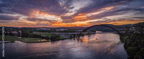 Fotobehang Aubergine Pennybacker Bridge in Austin, Texas during sunset
