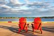 Red adirondack chairs