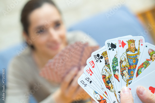 Plakat close up card game in hands