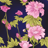 Seamless pattern with pink peony in Japanese style. Vector stock - 173078216