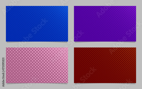 Retro halftone circle pattern business card background template design set - vector id card graphics with colored dots