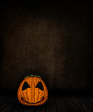 3D grunge room interior with spooky Jack o lantern