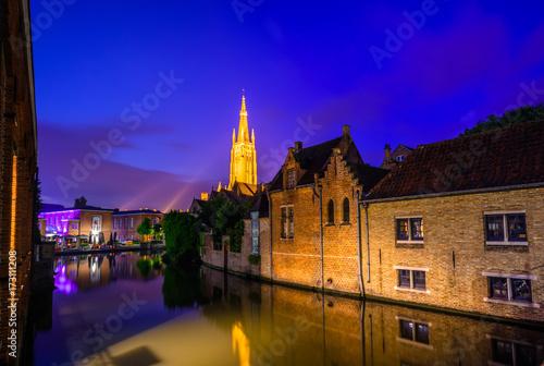 Deurstickers Brugge Night view over Brugge, Belgium