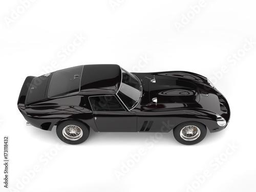 Foto op Canvas Snelle auto s Super jet black vintage race car - high angle side view