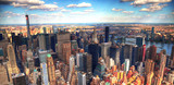 Colorful panoramic HDR image of the skyscrapers in Midtown Manhattan on cloudy day, New York City - 173122022