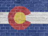 US States Concept: Colorado Flag Wall Background Texture - 173124619