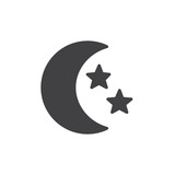 Moon and stars icon vector, filled flat sign, solid pictogram isolated on white. Symbol, logo illustration.