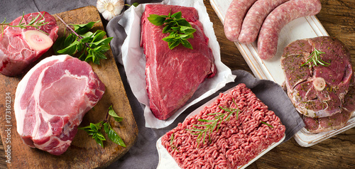 Poster Steakhouse Different types of fresh raw meat