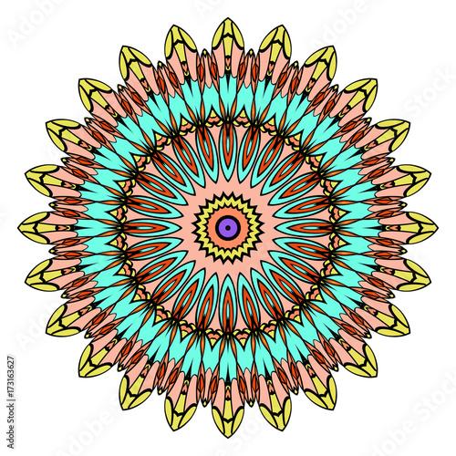Aluminium Abstractie Mandala, highly detailed vector illustration, ethnic tribal tattoo motive. Anti-stress illustration