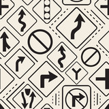 seamless monochrome  road signs pattern background