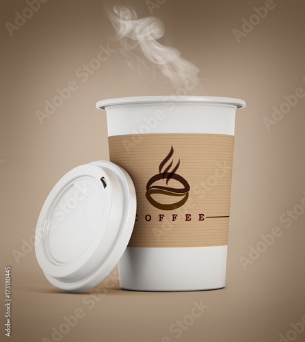 Wall mural Disposable coffee cup with hot smoking coffee. 3D illustration
