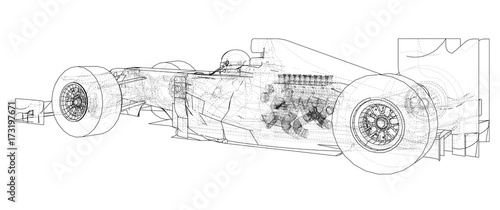 Aluminium F1 Formula 1. Abstract drawing. Wire-frame. EPS10 format. Vector created of 3d