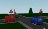 Kreuzung mit Straßenschildern und farbigen Autos