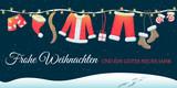 Weihnachten Grußkarte mit Weihnachtsmannkostüm an der Leine - 173222831