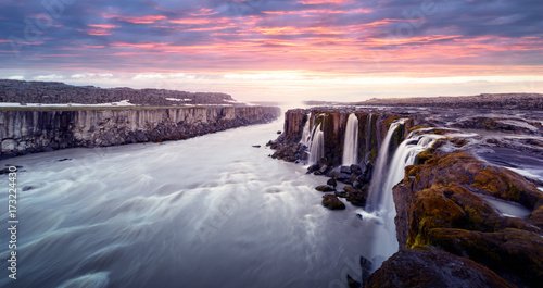 Keuken foto achterwand Donkergrijs Famous Selfoss waterfall