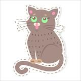 Cute cat Cartoon Flat Vector Sticker or Icon